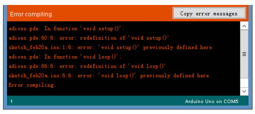 Error en Arduino: Redefinition of void setup()