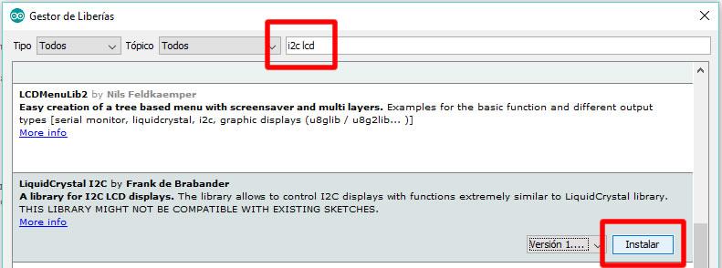 Instalar libreria LiquidCrystal_LCD